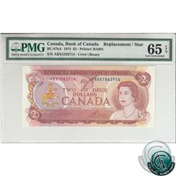 BC-47bA 1974 Bank of Canada Replacement $2, Crow-Bouey, S/N: ABX1562714 PMG Certified Gem UNC-65 EPQ