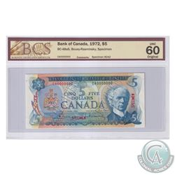 BC-48aS 1972 Bank of Canada Specimen $5, #242, Bouey-Rasminsky, S/N: CA0000000. BCS Certified UNC-60
