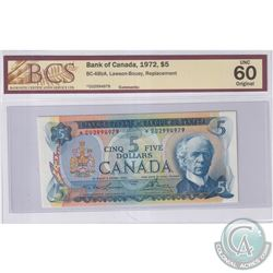 BC-48bA 1972 Bank of Canada Replacement, $5 Lawson-Bouey, S/N: *CU2994979, BCS Certified UNC-60 Orig