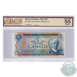 BC-48bA 1972 Bank of Canada Replacement $5, Lawson-Bouey, S/N: *CS0332310. BCS Certified AU-55 Origi