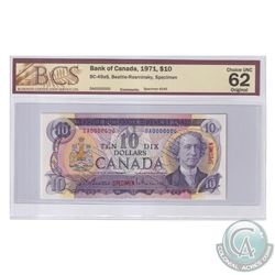 BC-49aS 1971 Bank of Canada Specimen $10, #245, Beattie-Rasminsky, S/N: DA0000000. BCS Certified Cho