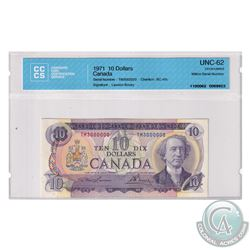 BC-49c 1971 Bank of Canada $10, Million Number Note. Lawson-Bouey, S/N: TM3000000. CCCS Certified UN