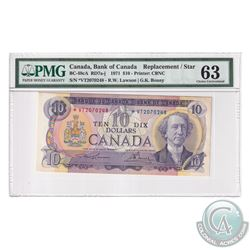 BC-49cA 1971 Bank of Canada Replacement $10, Lawson-Bouey S/N: *VT2070248. PMG Certified Choice UNC-