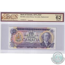 BC-49cA 1971 Bank of Canada Replacement $10, Lawson-Bouey, S/N: *VT2090747, BCS Certified CUNC-62 Or