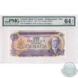 BC-49cA 1971 Bank of Canada Replacement $10, Lawson-Bouey, S/N: *VJ2205377 PMG Certified CUNC-64 EPQ