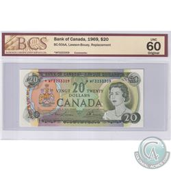 BC-50bA 1969 Bank of Canada Replacement $20, Lawson-Bouey, S/N: *WF3233309, BCS Certified UNC-60 Ori