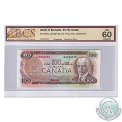 BC-52aS 1975 Bank of Canada Specimen $100, #244, Lawson-Bouey, S/N: JA0000000. BCS Certified UNC-60