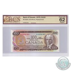 BC-52bA 1975 Bank of Canada Replacement $100, Crow-Bouey S/N: AJX0901831. BCS Certified Choice UNC-6