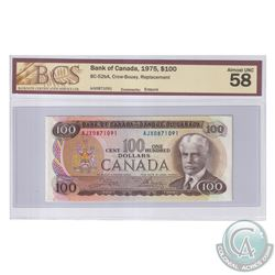 BC-52bA 1975 Bank of Canada Replacement $100, Crow-Bouey S/N: AJX0871091. BCS Certified AU-58