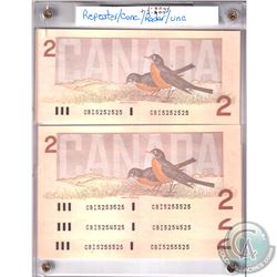 Set of 1986 Bank of Canada $2 Repeater & RADAR Notes with Serial Numbers CBI5252525, CBI5253525, CBI