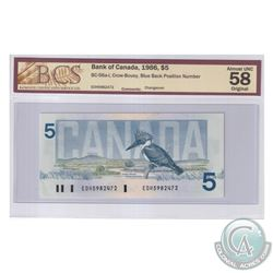 BC-56a-i 1986 Bank of Canada $5, Crow-Bouey, S/N: EOH5982472, Blue Back position number. BCS Certifi