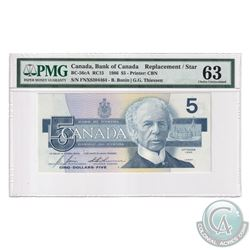 BC-56cA 1986 Bank of Canada Replacement $5, Bonin-Thiessen, S/N: FNX8304464. PMG Certified Choics UN
