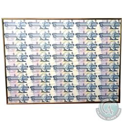 Uncut sheet of 1986 $5.00 notes, 5 x 8 Format, ANU Prefix. The corners and edges are in good conditi