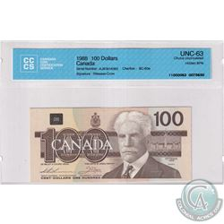 BC-60a 1988 Bank of Canada $100, Thiessen-Crow, Hidden BPN, S/N: AJR1814383, CCCS Certified CUNC-63