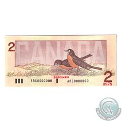 Set of 6 Matching SPECIMEN Notes of the Birds of Canada Issue. (Set#0978) All PMG Certified Gem UNC-