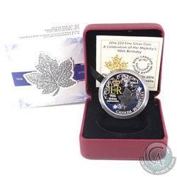 RCM Issue: 2016 Canada $20 HRH Queen Elizabeth II's 90th Birthday Fine Silver (Tax Exempt).