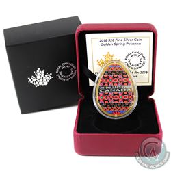 RCM Issue: 2018 Canada $20 Golden Spring Pysanka Egg Shaped Fine Silver Coin (Tax Exempt).