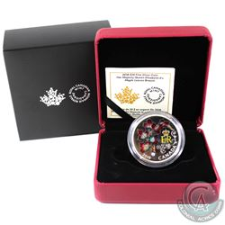 RCM Issue: 2018 Canada $20 Queen Elizabeth II's Maple Leaves Brooch Fine Silver (Tax Exempt).