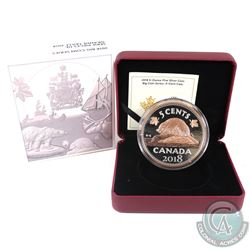 RCM Issue: 2018 Canada 5-cent Big Coin Rose-Gold Plated 5oz Fine Silver Coin (Tax Exempt).