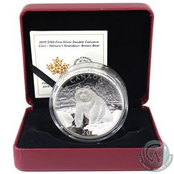 RCM Issue: 2019 Canada $100 Double Concave Nature's Grandeur - Brown Bear Fine Silver Coin (outer sl