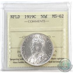 Newfoundland 50-cent 1919C ICCS Certified MS-62. Full white coin.