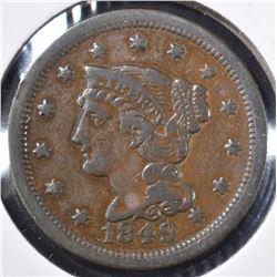1849 LARGE CENT, VF