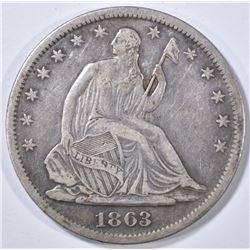 1863-S LIBERTY SEATED HALF DOLLAR XF