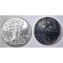 2002 CANADA MAPLE LEAF, 2010 ASE 1oz SILVER COINS