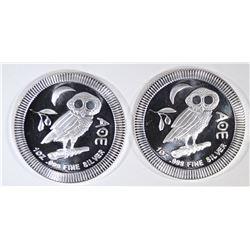 2-2019 NIUE 1oz SILVER $2 OWL COINS