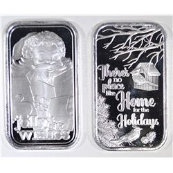 2-2019 ONE OUNCE .999 SILVER HOLIDAY BARS