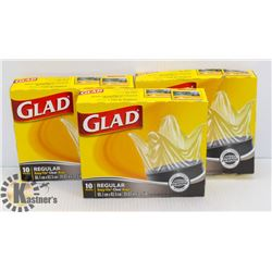 LOT OF ASSORTED GLAD GARBAGE BAGS,