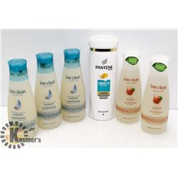 LOT OF ASSORTED SHAMPOO FROM LIVECLEAN AND PANTENE