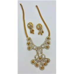 VINTAGE SIGNED HOBE NECKLACE AND EARRINGS