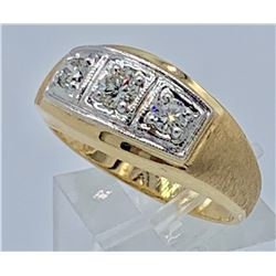 GENTS 14K YELLOW GOLD DIAMOND RING, SIZE 10