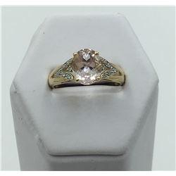 14K Y GOLD OVAL KUNZITE & DIAMOND RING