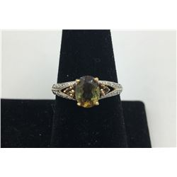 14K Y GOLD SMOKY QUARTZ WITH DIAMOND ACCENTS RING