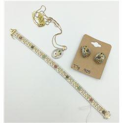 STERLING SILVER SET, NECKLACE, RING AND BRACELET