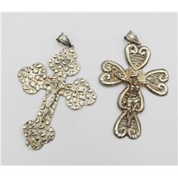 (2) LARGE STERLING SILVER CROSSES