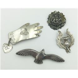 4 STERLING BROOCHES
