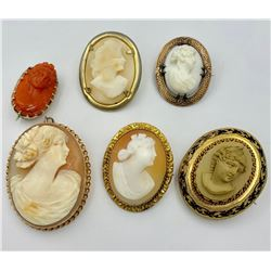 LOT OF SIX VINTAGE CAMEO PINS