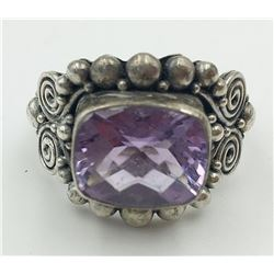 STERLING SILVER RING WITH PURPLE STONE