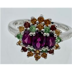 STERLING SILVER RING WITH COLORED STONES