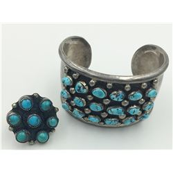 TURQUOISE CUFF BRACELET AND RING