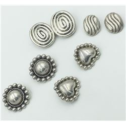 LOT OF FOUR PAIR STERLING CLIP BACK EARRINGS