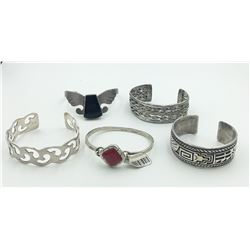 LOT OF FIVE CUFF SILVER BRACELETS