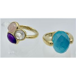 LOT OF TWO QVC RINGS, SIZE 9 1/2 AND 10