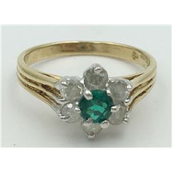 10K YELLOW GOLD CREATED EMERALD AND DIAMOND RING