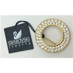 SWAROVSKI GOLD TONE RHINESTONE CIRCLE PIN