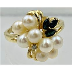 14K YELLOW GOLD RING WITH CULTURED PEARLS