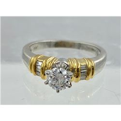 PLATINUM & 18K YG  DIAMOND RING,